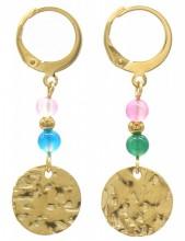 E-D5.5 E2121-054G S. Steel Earrings Indian Agate 1x3.5cm Gold