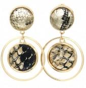 C-E23.1 E1631-009C Earrings Snake Brown 5x3cm Gold