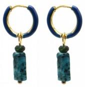 C-E20.1 E2142-027G S. Steel Earrings 1x2.5cm Blue Gneiss