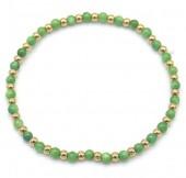 D-B18.1 B2142-004B S. Steel Elastic Bracelet Green Adventurine