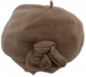 Z-D1.2  Woolen Hat with Flower Light Brown