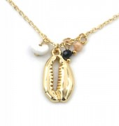 F-E8.3 N532-004G Necklace Shell and Beads Gold