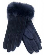 R-M6.1 GLOVE403-069E Gloves Rib Fabric and Faux Fur Blue