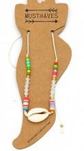 F-F17.1  ANK221-013 Anklet with Beads and Shell White