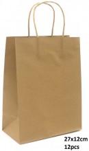 Y-F2.4 PK525-003C Paper Giftbag 27x12cm Brown 12pcs