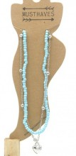 G-A19.5 ANK002B Layered Anklet with Beads and Heart Blue