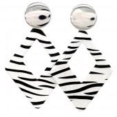 E-B22.1 E1631-013B Earrings Zebra 8x5cm Silver