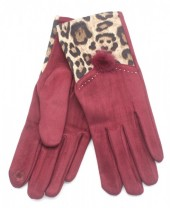 X-I9.1  GLOVE403-003C Gloves with Animal Print Red