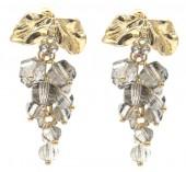 B-D21.3  E2019-006G Earrings Faceted Glass Beads 40mm Grey-Gold