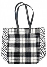 K-E3.2 BAG120-004 Large PU Shopper with Checkered Design and Zebra Print 37x43cm