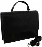 S-B6.3 BAGE-1177 Leather Bag Snake Skin 28x21x5cm Black