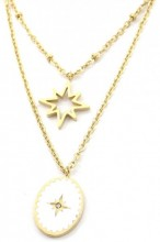 B-E6.1 N2004-001G Layered S. Steel Necklace Northern Stars Gold