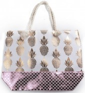 Y-B1.1 BAG217-025 Beach Bag Metallic Pineapples Mermaid 54x40cm